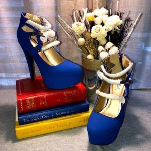 Qupid royal blue platform velvet strap stilettos